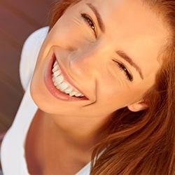 Woman with straight healthy smile